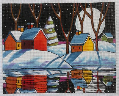 Maggie Needlepoint Night Snow Reflections