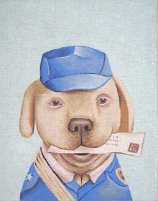 Mail Dog Handpainted Needlepoint