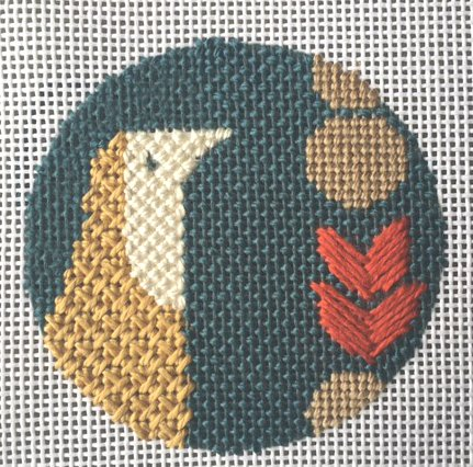 mid century modern needlepoint bird filler stitches