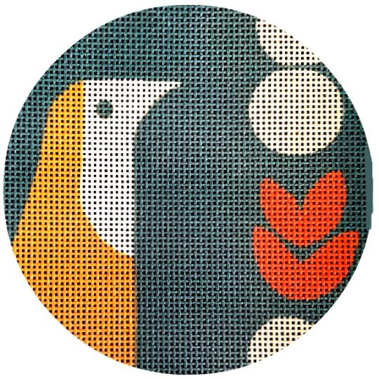 Mid Century Modern Needlepoint Bird's Head Ornament