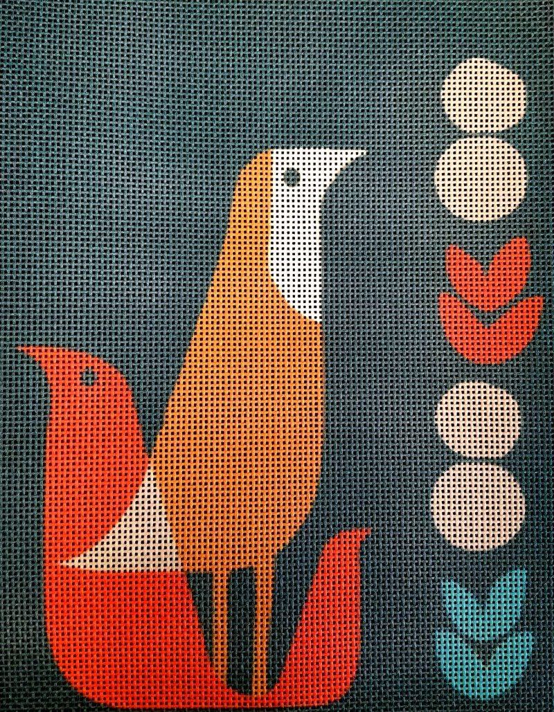 Thrush at Midnight Handpainted Needlepoint