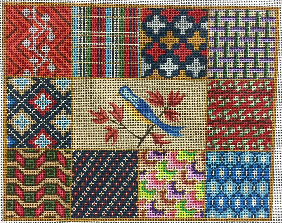 Monrovian Squares with Bird Needlepoint