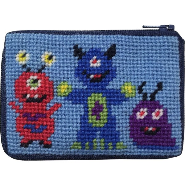 Beginner Needlepoint Kit Coin Purse Monsters