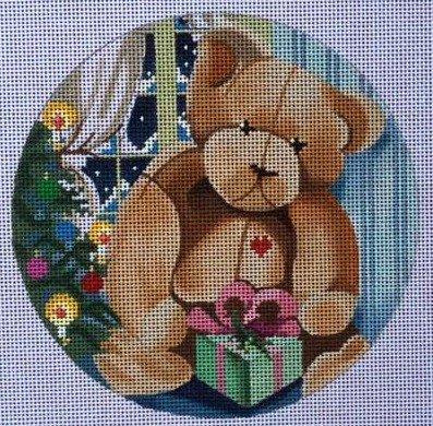 Needlepoint Christmas Ornament Teddy Bear & Gift