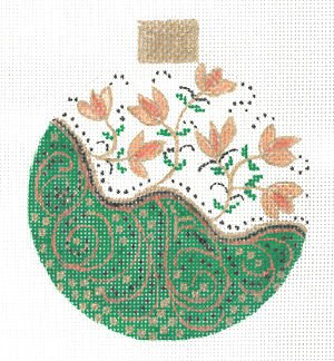 Green Tendrils Needlepoint Ornament