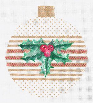 Holly on Gold Needlepoint Ornament
