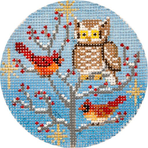 Needlepoint Christmas Ornament Owl and Cardinals
