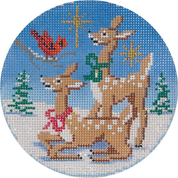 Needlepoint Christmas Ornament<BR>Deer and Cardinals