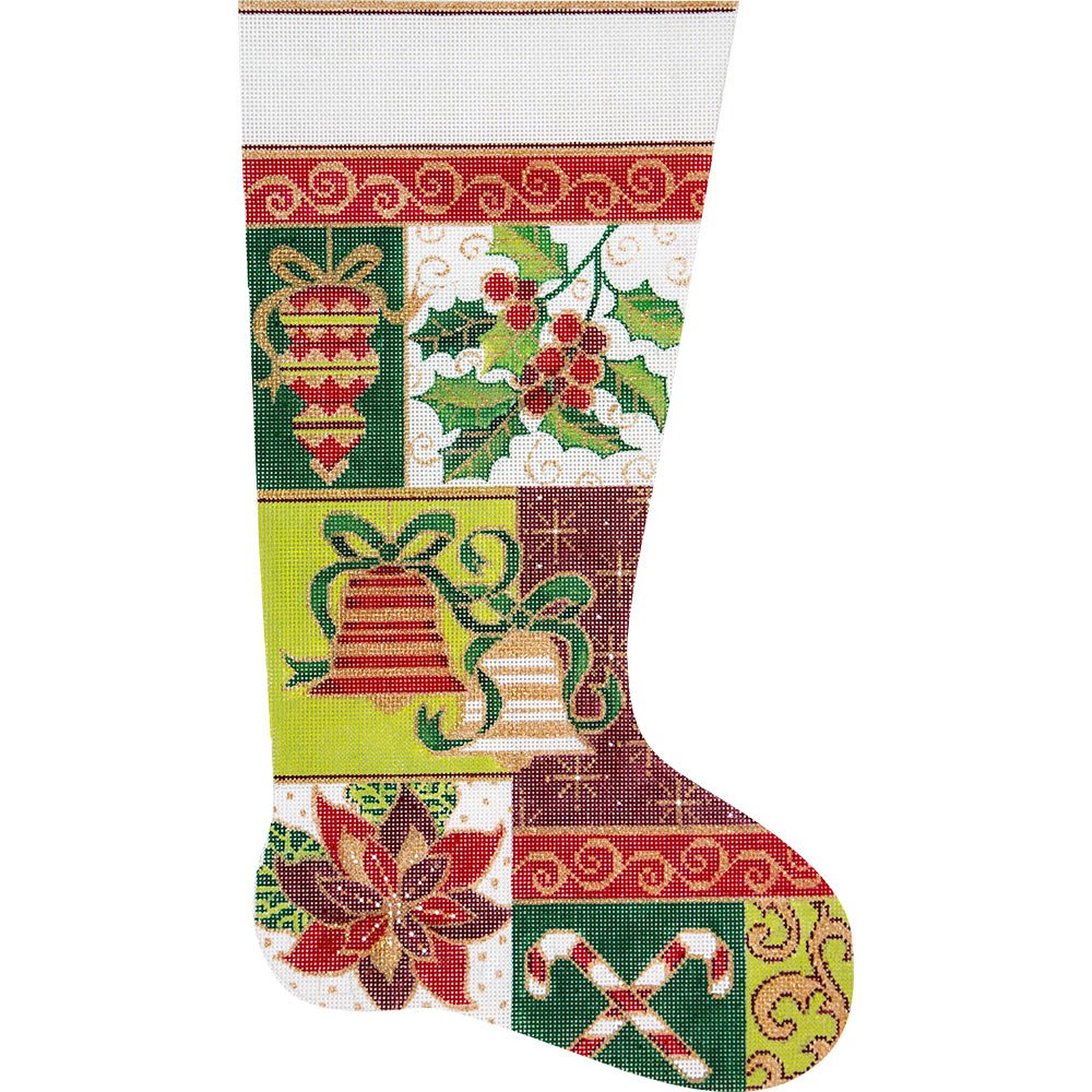 Needlepoint Christmas Stocking Bells and Holly - in stock