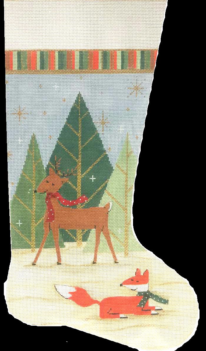 Needlepoint Christmas Stocking Deer and Fox