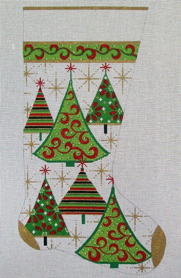 Needlepoint Christmas Stocking Gold Trees - in stock