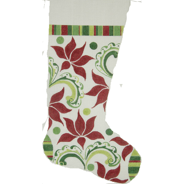 Needlepoint Christmas Stocking Modern Poinsettia