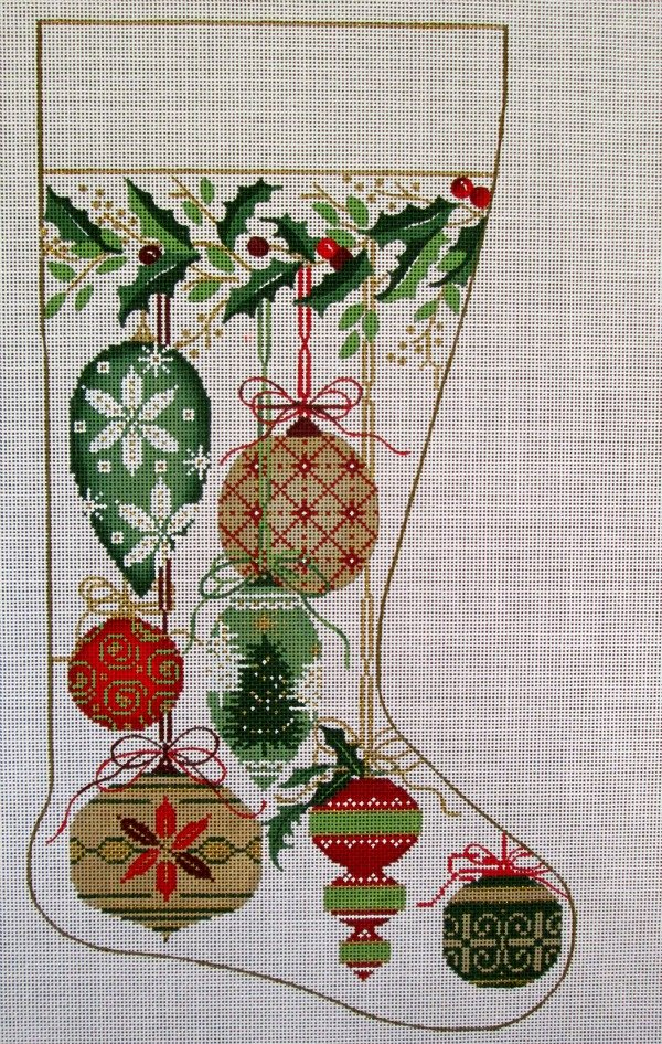 Needlepoint Christmas Stocking Natural Ornaments