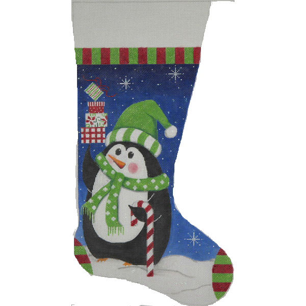 Needlepoint Christmas Stocking Penguin and Gifts