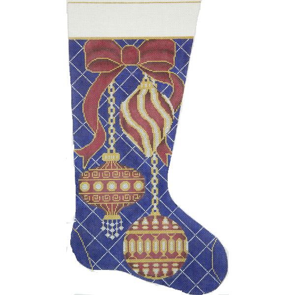 Needlepoint Christmas Stocking Red Gold Ornaments