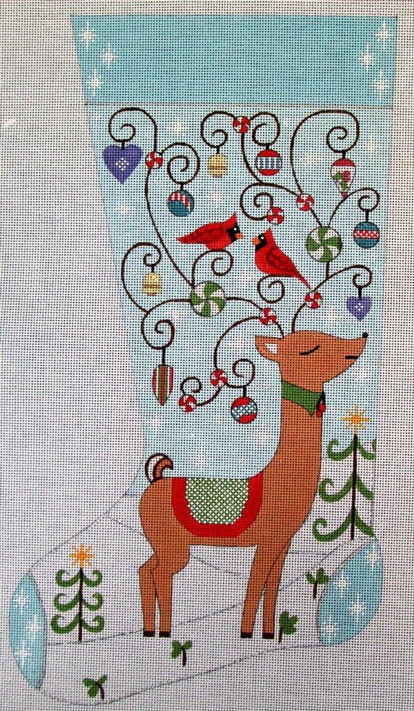 Reindeer in Snow Needlepoint Stocking