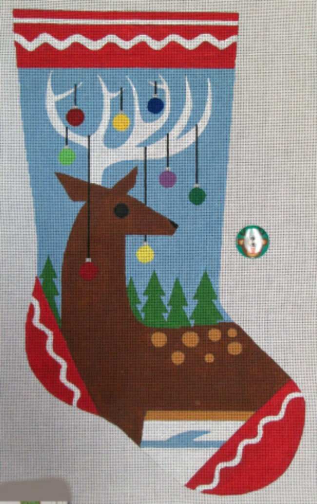 needlepoint christmas stockingreindeer antlers - Needlepoint Christmas Stocking Canvas