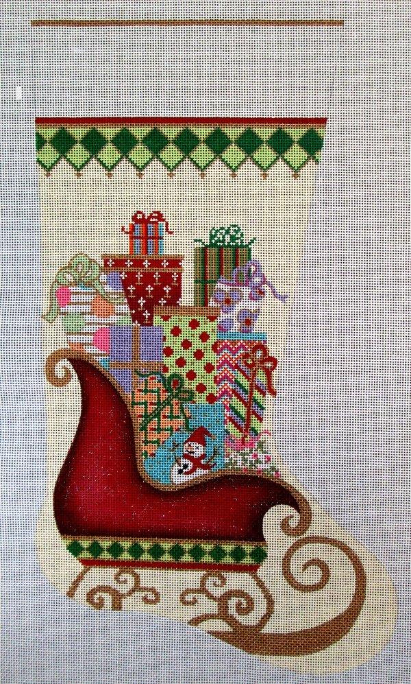 Needlepoint Christmas Stocking Santa's Sleigh - in stock