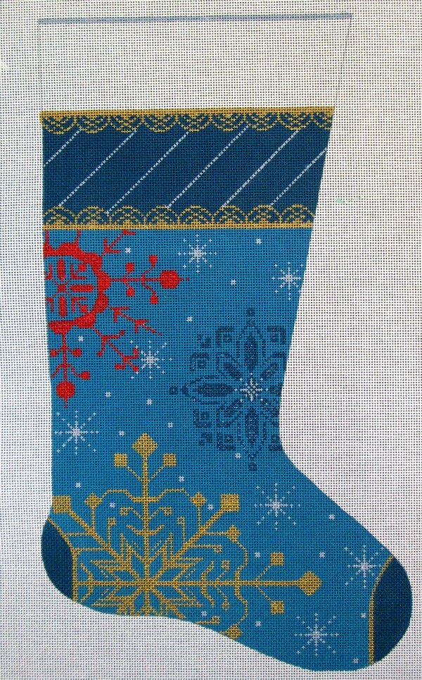 Needlepoint Christmas Stocking Snowflakes on Blue -in stock