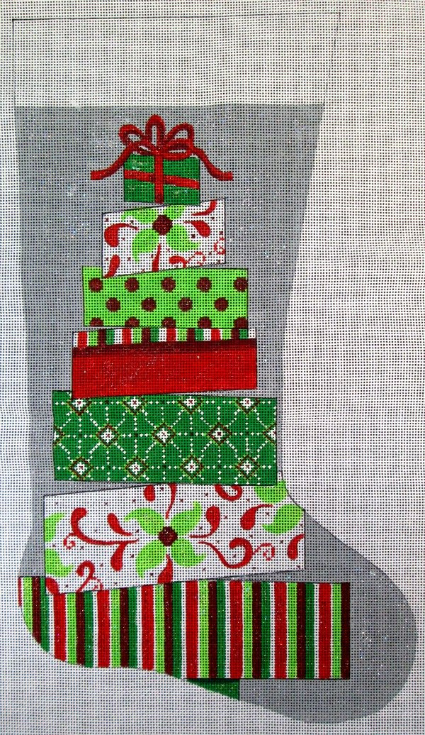 Needlepoint Christmas Stocking Topsy Turvy