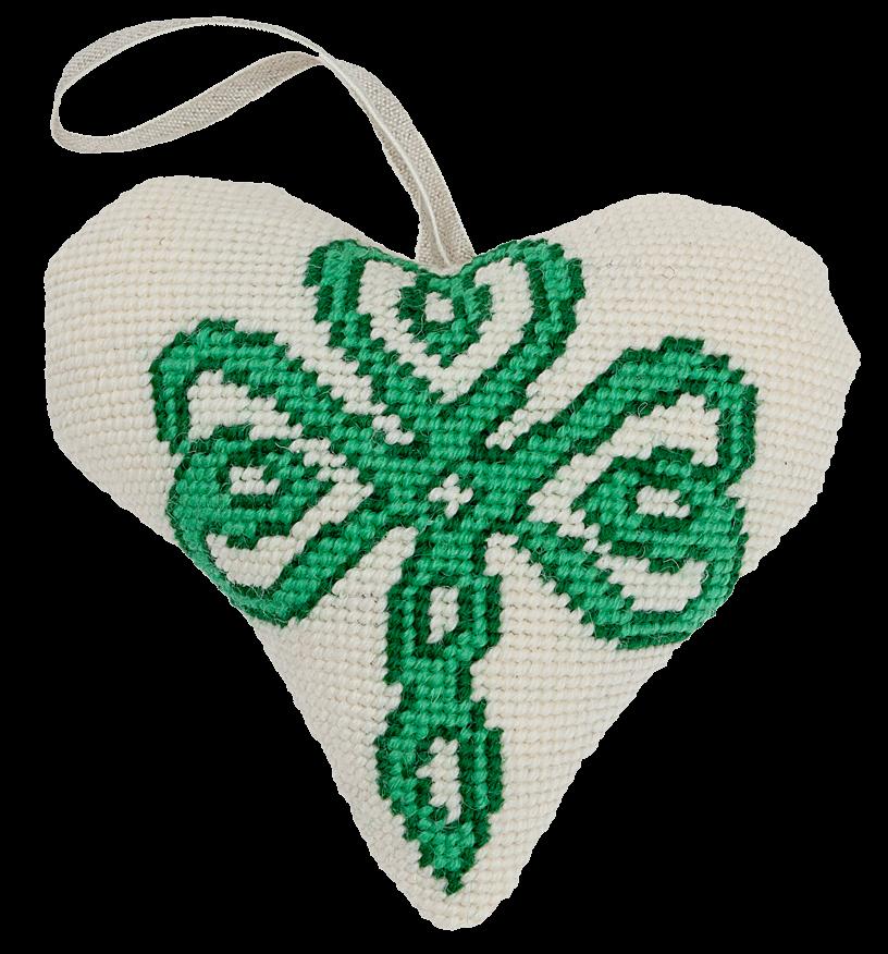 Needlepoint Heart Ornament Kit Celtic Shamrock