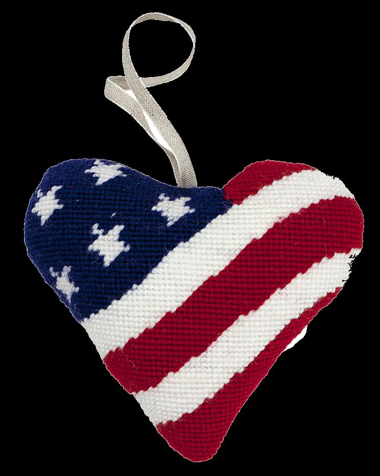 Needlepoint Heart Ornament Kit Stars and Stripes