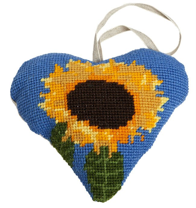 Needlepoint Heart Ornament Kit Sunflower