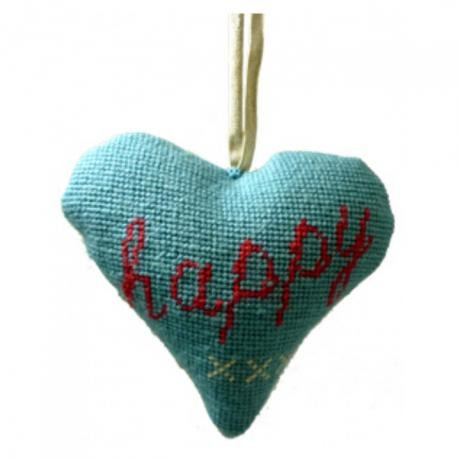Needlepoint Ornament Heart Happy