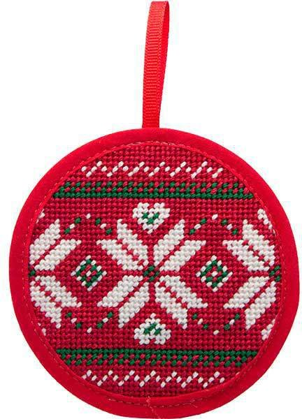 - Needlepoint Christmas Ornament Kit Fair Isle Red