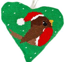 Needlepoint Ornament Heart Robin