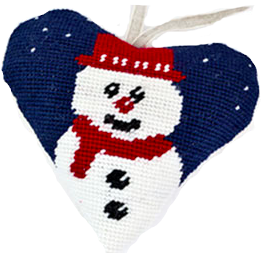 Needlepoint Ornament Heart Snowman