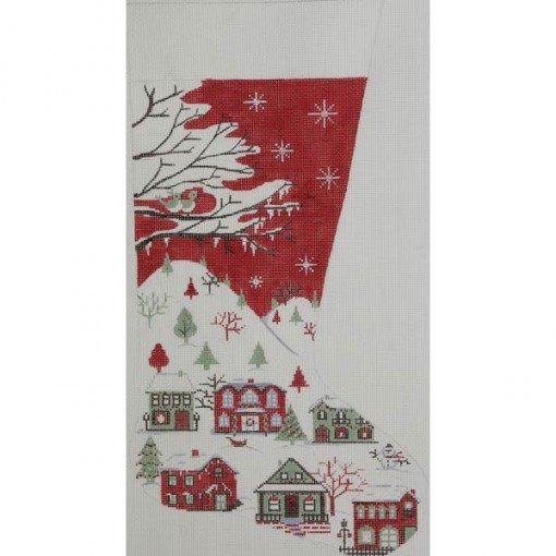 Red Country Scene Stocking
