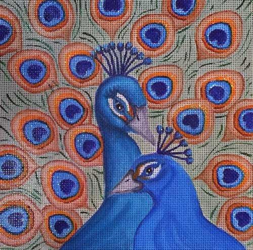 Nenah Stone Needlepoint<BR>Peacocks