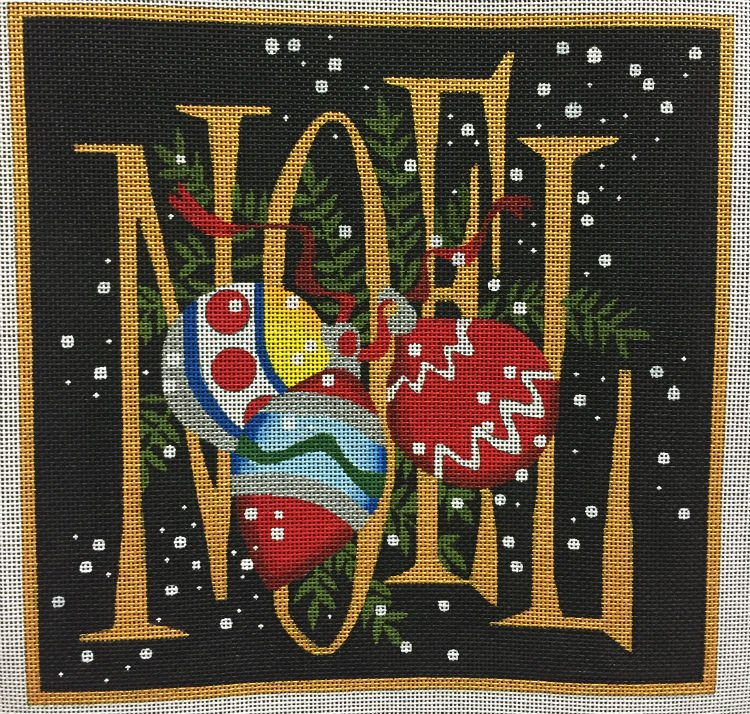 Noel Ornaments Needlepoint on Black