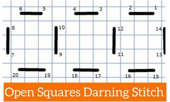 woven squares needlepoint darning stitch