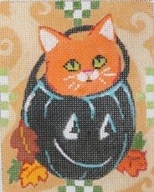 Orange Cat in kettle halloween design by JulieMar