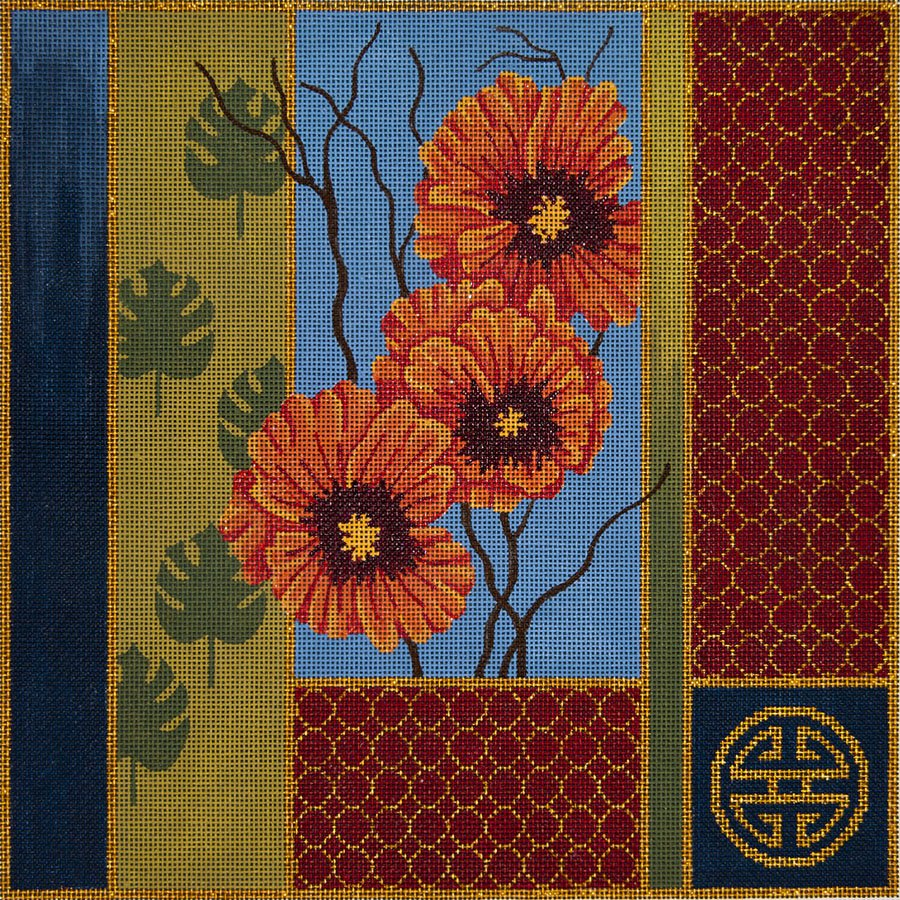 Oriental Poppies and Palm Leaves