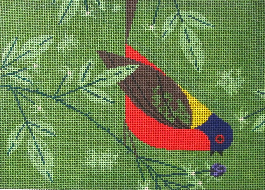 Charley Harper needlepoint Painted Bunting