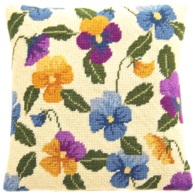 Needlepoint Pillow Kit Pansy Garden