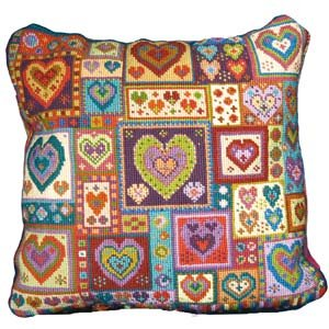 little hearts patchwork needlepoint kit