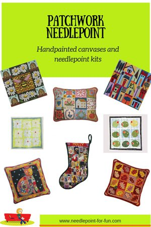 Patchwork needlepoint in handpainted canvases and kits