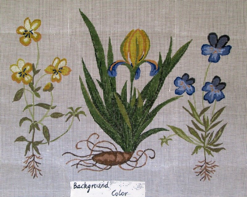 Penelope Needlepoint<BR>Iris & Pansies