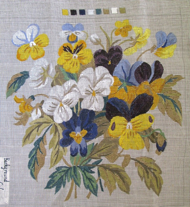 Penelope Needlepoint<BR>Pansy Bouquet