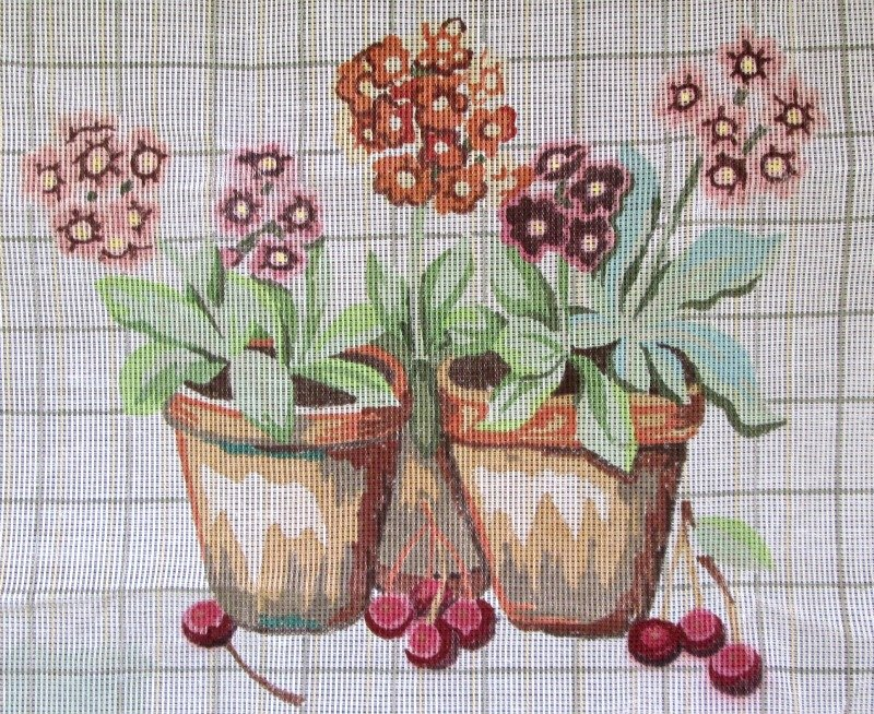 Penelope Needlepoint<BR>Primulas and Cherries