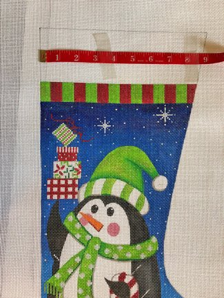 penguin with gifts Christmas stocking