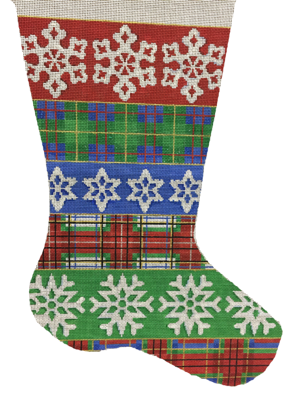 Needlepoint Christmas Stocking Plaid Snowflakes