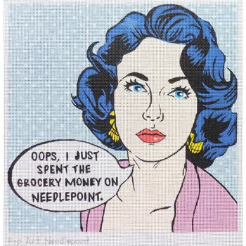 Pop Art Needlepoint-I spent the grocery money