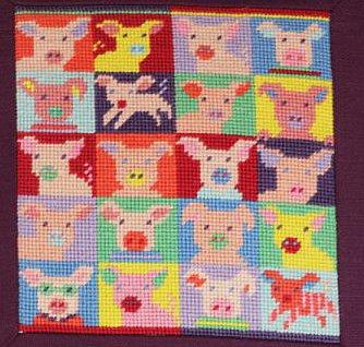 Pop Art Pigs small Needlepoint Kit