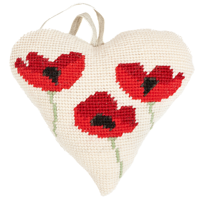 Needlepoint Heart Ornament Poppies