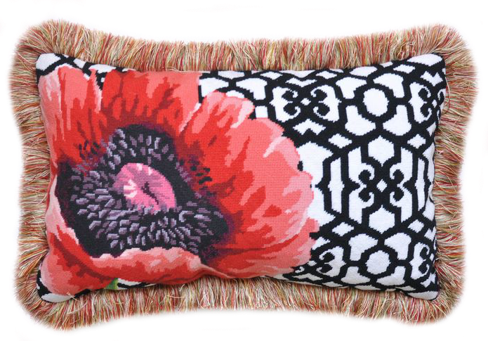 poppy on trellis needlepoint